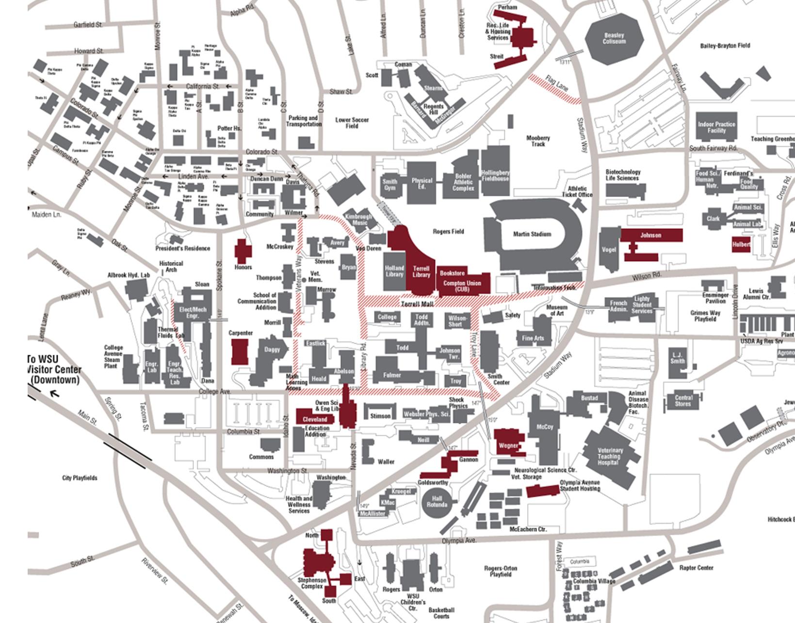 Wsu Pullman Campus Map | Park Map